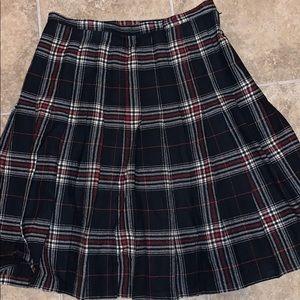 Pendleton Vintage Wool Black Plaid Skirt Sz 14